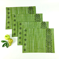 Khadi Table Mats, Fern Green Table Mats, Elegant Placemats, Block Print Table Mats, Handloom Table Decor, Holiday Decor, Buffet Table Mats