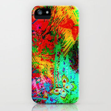 BUTTERFLY FEVER - Bold Rainbow Butterflies Fairy Garden Magical Bright Abstract Acrylic Painting iPhone Case by EbiEmporium | Society6