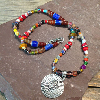 Bright Colorful Trade Bead Necklace, Hippie, Bohemian, Handmade, Jewelry