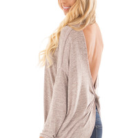 Rose Grey Two Tone Open Twisted Back Lightweight Sweater