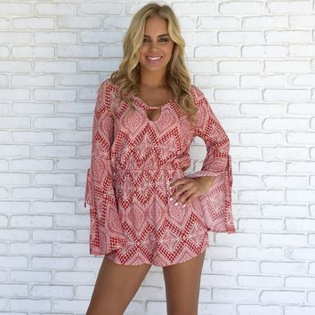 Soul Sister Bell Sleeve Romper in Red