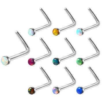 1PC 20G 0.8*7+2mm Steel Opal Stone Nose Rings L Shape Nose Earring Piercing Fake Tiny Nose Rings Sexy Body Jewelry Piercing