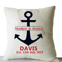 Mr Mrs Pillow Cover -Personalized Anchor Linen Pillow Cover -Wedding Gift -Anniversary -Christmas Gift -Multiple Sizes -Personalized Gifts