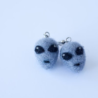 Alien Earrings, Needle Felted Gray Alien Head Dangle Earrings
