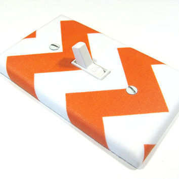 White and Orange Chevron Riley Medium Tangerine Tango Light Switch Cover Zig Zag Modern Home Decor 735