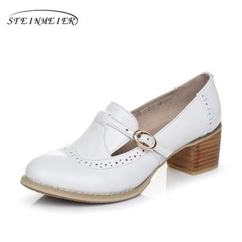 Genuine leather big woman shoes US size 9 designer vintage High heels round toe handmade white black pumps with fur