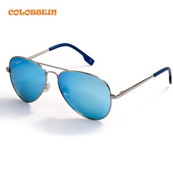 COLOSSSEIN BLUE LABEL Fashion Metal Sunglasses Men Retro Oval Frame Glasses Popular Polarized Style 2017 New Trendy Hot Sale