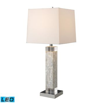 D1412-LED Luzerne LED Table Lamp In Mother Of Pearl With Milano Off White Shade - Free Shipping!