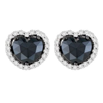 14K White Gold 2 1/3 CTTW Round and Treated Black Heart-cut Diamond Stud Earrings