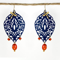Moroccan earrings, filigree earrings. orange and blue earrings, teardrop,  Indie jewelry, patinated brass. carnelian earrings. Boho earrings