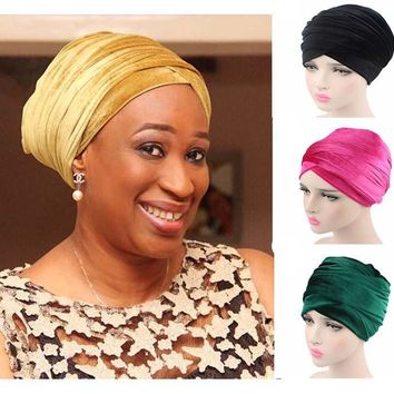 NEW women Luxury velvet long scarf Turban hijab hat Head Wrap Extra Long tube indian Headwrap Scarf Tie