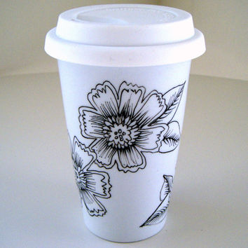 Ceramic Travel Mug Eco Friendly Painted Black White Folk Flowers Modern handmade by sewZinski on Etsy