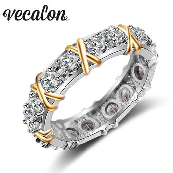 Vecalon 3 colors Gem Simulated diamond Cz Engagement Wedding Band ring for Women 10KT White Yellow Gold Filled Female ring