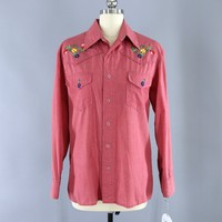 Vintage 1970s Embroidered Western Shirt / Red Chambray