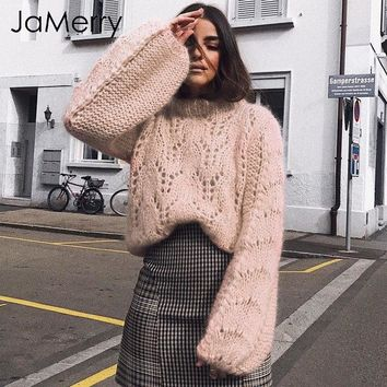 JaMerry O ncek lantern sleeve knitted sweater female Hollow out winter jumper pull femme 2018 Trico loose casual pollover women