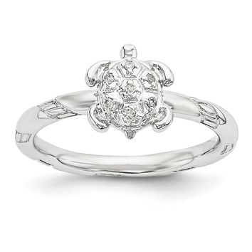 Sterling Silver Stackable .035 Ctw I3 H-I Diamond 9mm Turtle Ring