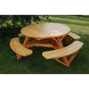 Moon Valley Rustic Cedar 56-inch Round Table - With Attached Benches