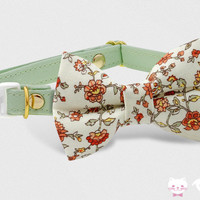 Cat Collar, Breakaway Collar, Bow Tie Collar, Dog Collar, Pastel Green Floral