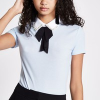 Blue rib bow embellished collar top - Blouses - Tops - women