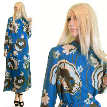 samantha mod dress flower power hippie dress psychedelic vintage 60s dress A line dress hostess womens clothing hippy 60s mod floral dress