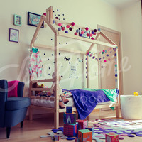 Children bed house, frame bed, children furniture, nursery crib, Montessori baby bed, house bed, toddler bed, wood bed kids teepee headboard