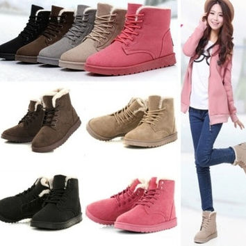 Women's Fashion Boots Comfort Shoes Flat Lace UP Ankle Winter Warm Snow Boot [8323260673]