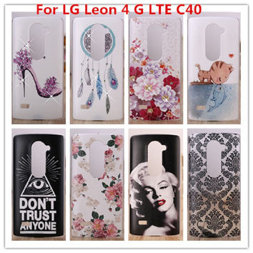 For LG Leon Case Luxury Crystal Diamond 3D Bling Hard Plastic Cover Case For LG Leon 4 G LTE C40 C50 H340N H320 Cell Phone Case