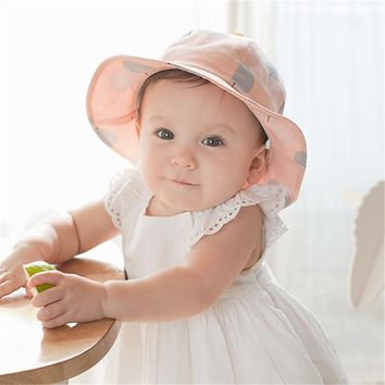 Toddler Infant Hats Sun Cap Polka Dot Summer Outdoor Baby Girl Hats Beach Bucket Sun Hat