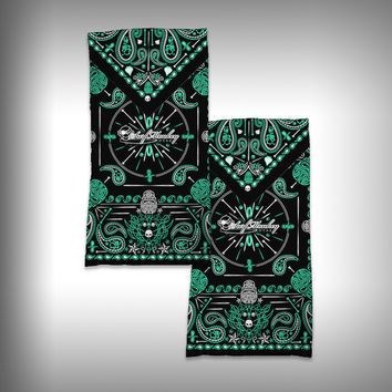 Monk Wrap Neck Gaiter / Face Shield - Bandana Green Skull