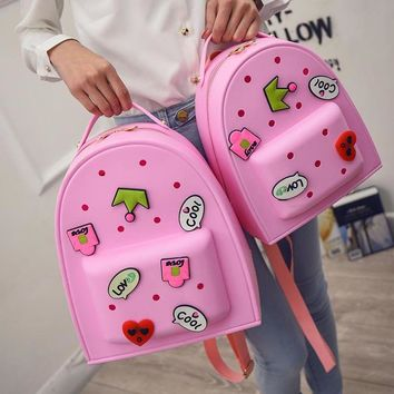 Candy Color Women Backpacks for Teenage Girls Causal Sweet Cartoon EVA Satchel Kids Children School Bags Travel mochila feminina