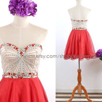 Mini Prom Dresses, Strapless Sweetheart Crystal Burgundy Short Formal Dresses, Strapless Burgundy Homecoming Dresses