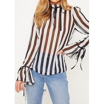 Shirt Women's Mesh See Through Lace Up Stripe Color Block Flounce Sleeve