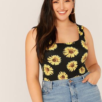 Plus Sunflower Print Fitted Tank Top