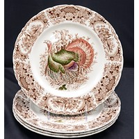 Johnson Brothers Brown Transferware Turkey Plate  Windsor Ware - Beautiful Thanksgiving Fall / Autumn Dinnerware