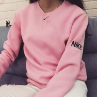 Fashion nike simple embroidery hedging sweater tops pink