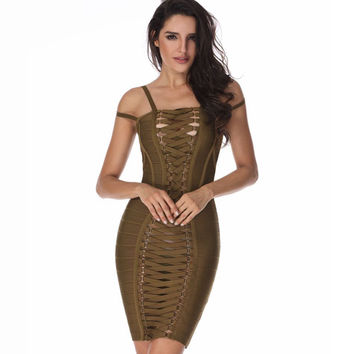 Bombshell Lace Up Olive Green Bandage Dress