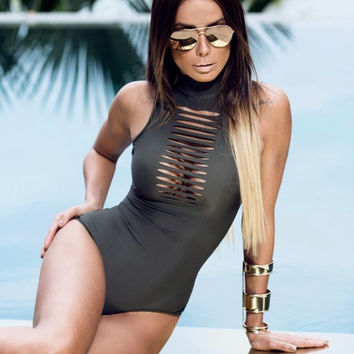 Sexy Bodysuit High Neck Hollow Tie Up Swim Suit Fashion Swimsuit Bathing Suit monokini Womens Beachwear Swimmer M0128