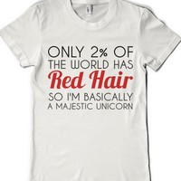Red Hair Majestic Unicorn-Female White T-Shirt L |