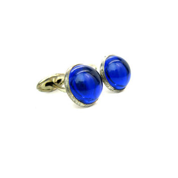 Mens Cufflinks. Cobalt Blue Lucite Cabochons. Silver Tone Cuff links. Vintage Art Deco 1930s 1940s Wedding Formal Retro Dress up Accessory