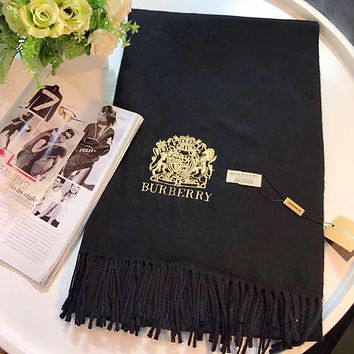 Burberry Women Fashion Embroidery Cashmere Warm Cape Scarf Scarves