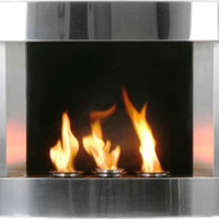 Stainless Steel Wall-mount Fireplace - contemporary - fireplaces - by Grandin Road