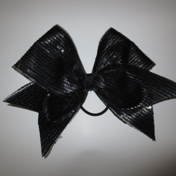 Cheer Bow- Black sequin
