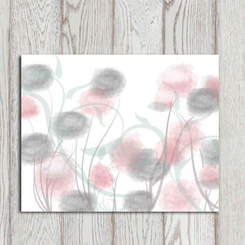 Abstract flowers printable art Flower print Flower canvas poster Pink gray home decor Modern watercolor flower Large 11x14 5x7 8x10 DOWNLOAD