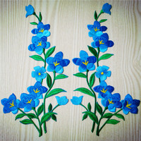 Free Shipping Nice Blue Flower patch Embroidered Iron On Patches for Clothing Sticker Garment Appliques DIY Accessory A208