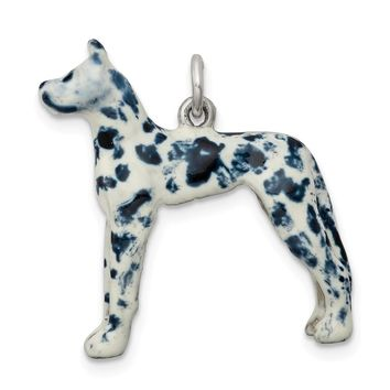 925 Sterling Silver Enameled Great Dane Charm and Pendant