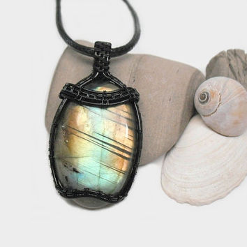 OOAK Wire wrapped Labradorite necklace, aqua and copper Labradorite pendant, black copper wire wrap, unique necklace for women