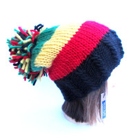 Rasta hat black red green yellow slouch hat slouchy beanie Irish chunky knit hat rastafarian hat with large pompom fun hat Johanna Crafts