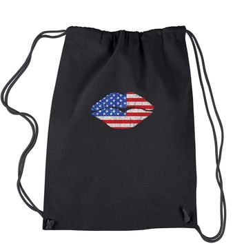 Patriotic Lips with USA Flag Drawstring Backpack