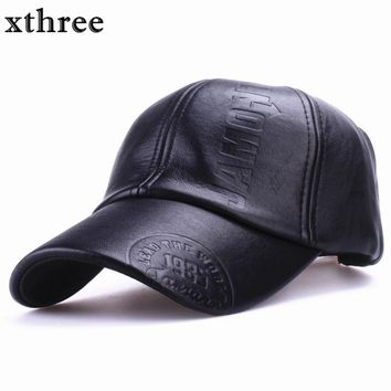 Xthree New fashion high quality fall winter men leather hat Cap casual moto snapback hat men's baseball cap