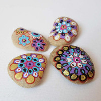 Talisman Beach Stones Art, Pebble Art Flowers mandala drawing, Set of 4 Hand Painted Sea stones, Christmas gift Mori girl art, Miniature art